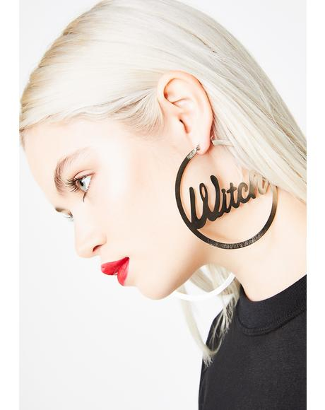 Witchy Attitude Hoop Earrings