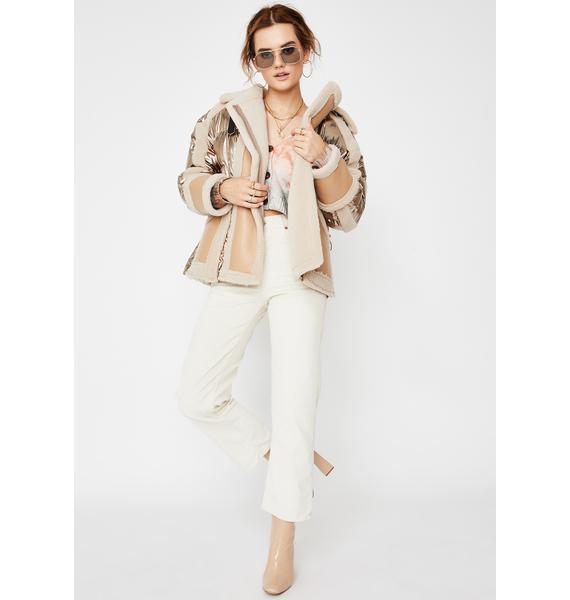 ZEMETA Cream Shearling Metallic Puffer Jacket