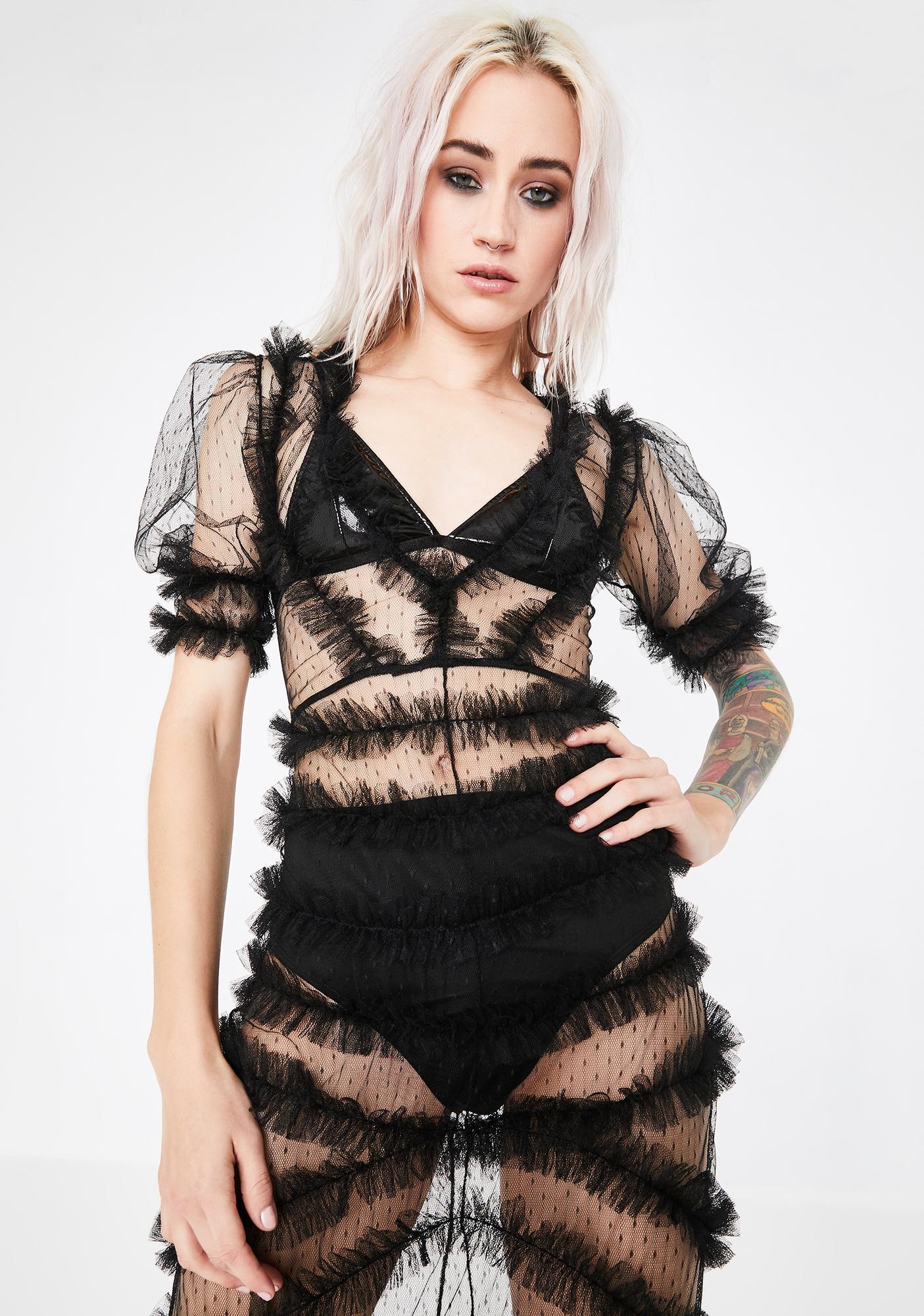 Kiki Riki Edgy Elegance Sheer Maxi Dress