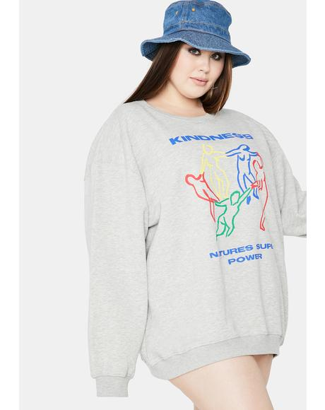 Curve Kindness Graphic Sweatshirt