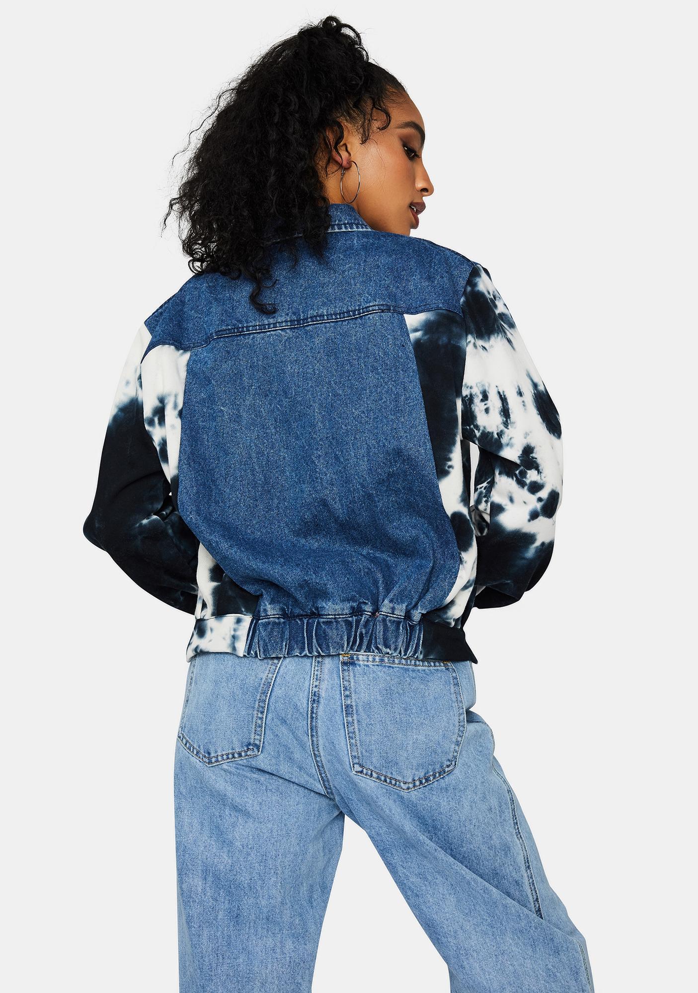 Reveal Ur Feels Tie Dye Sleeve Denim Jacket