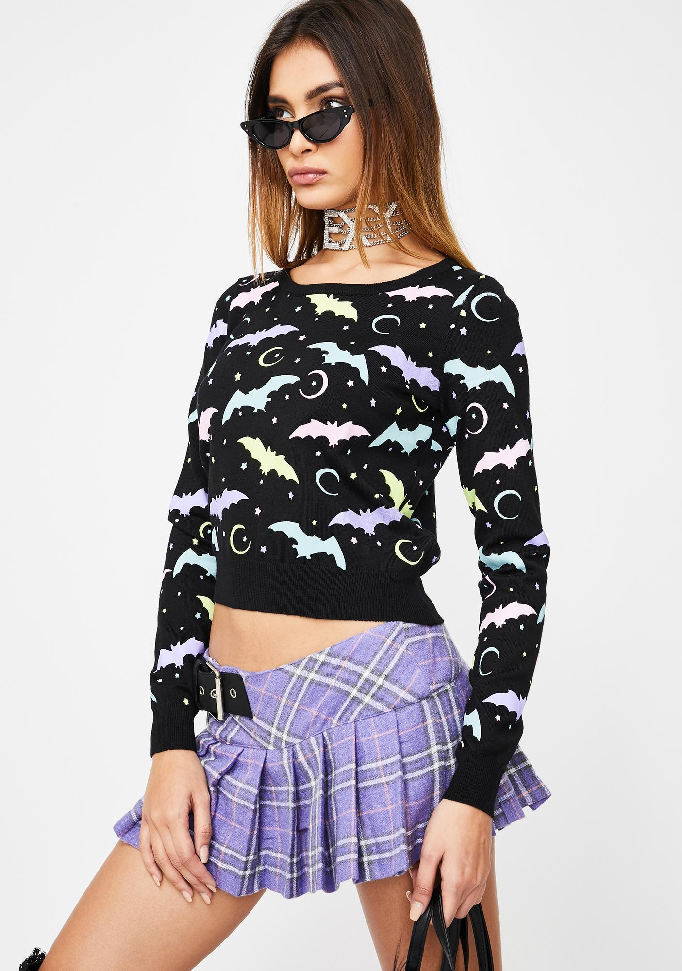 Too Fast Pretty In Pastel Bats Pullover Sweater