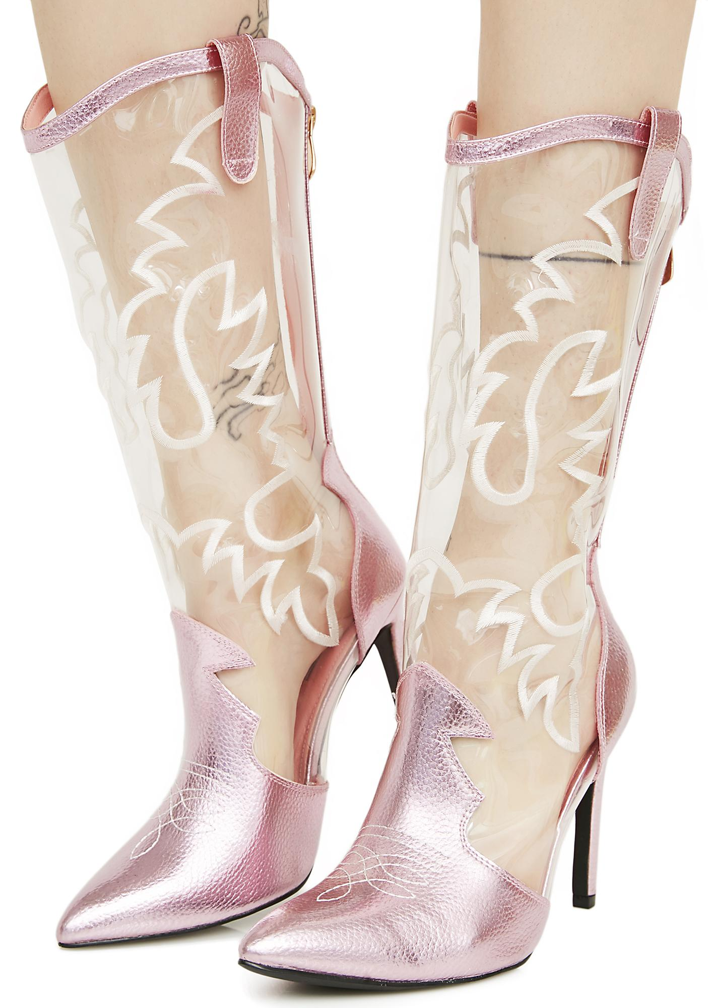 Blush Nashville Dolly Transparent Cowboy Boots