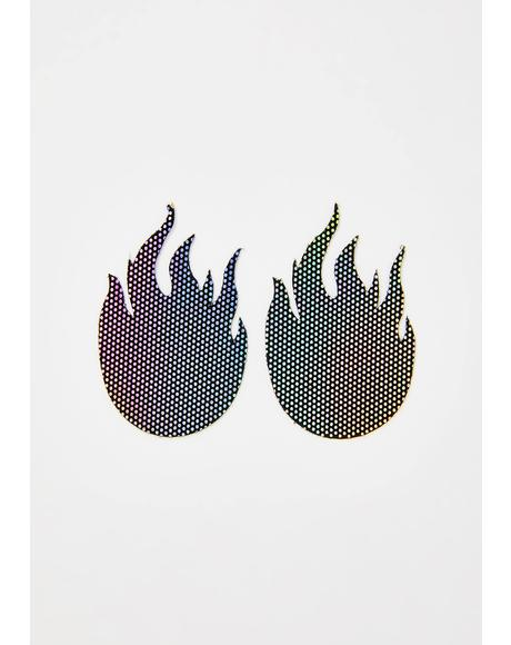 Rainbow Flames Pasties
