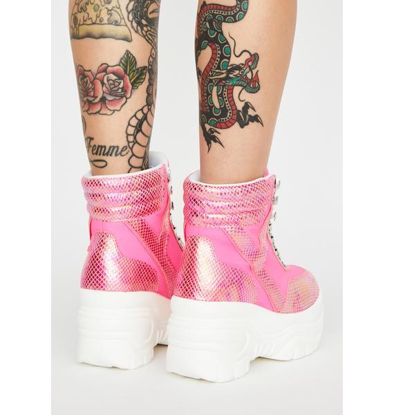 Y.R.U. Matrixx Hi Hot Pink Platform Sneakers