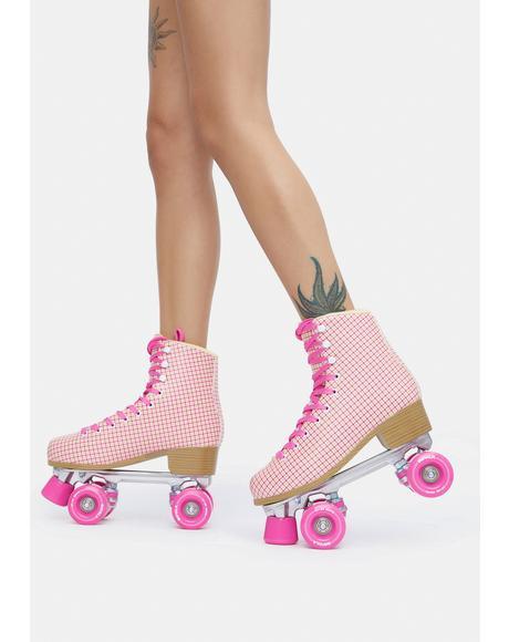 Pink Tartan Quad Roller Skates