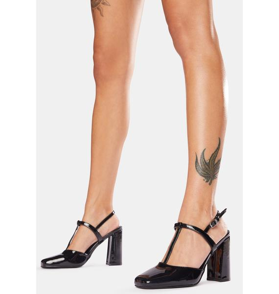 Public Desire Black Patent Romy Strappy Kitten Heels