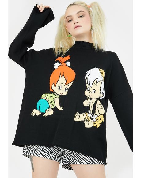 X Flintstones Pebbles N Bam Bam Knit Jumper