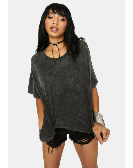 Baddie Girl Washed Black Oversized Tee