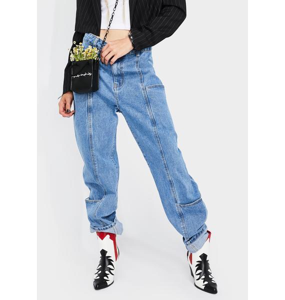Momokrom Light Wash Wide Leg Jeans