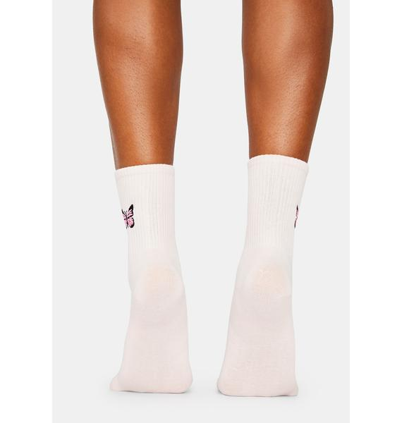 Float Like Me Butterfly Embroidered Crew Socks