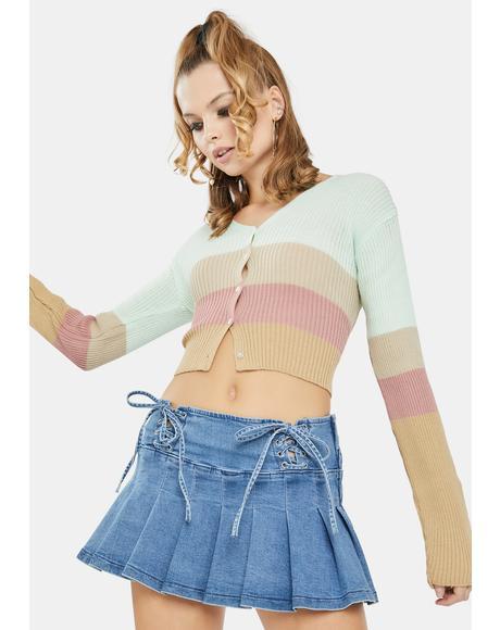 Pastel 90's Crop Stripe Cardigan