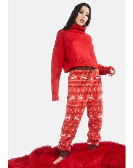 Red Reindeer Joggers