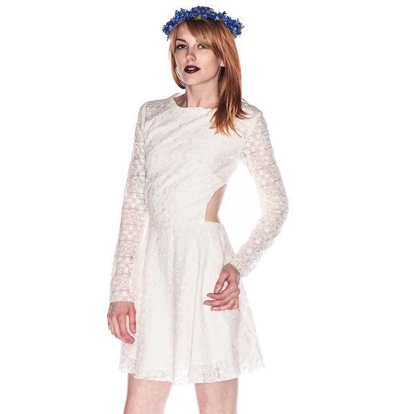 One Teaspoon Twilight Garden Lace Cut Away Dress