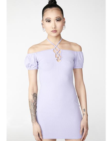 Lavender Love Bait Lace-Up Dress