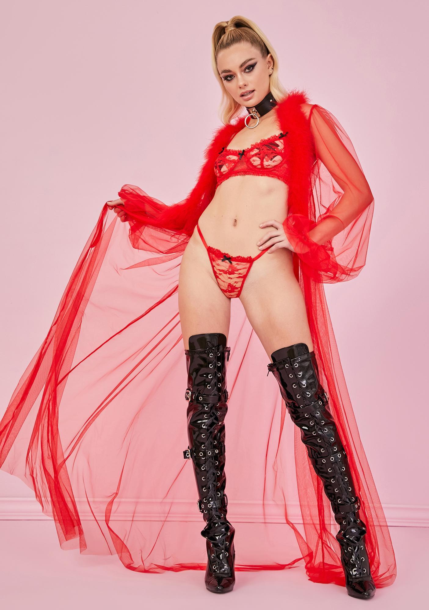 Sugar Thrillz Cherry Bonbon Kisses Lace Thong