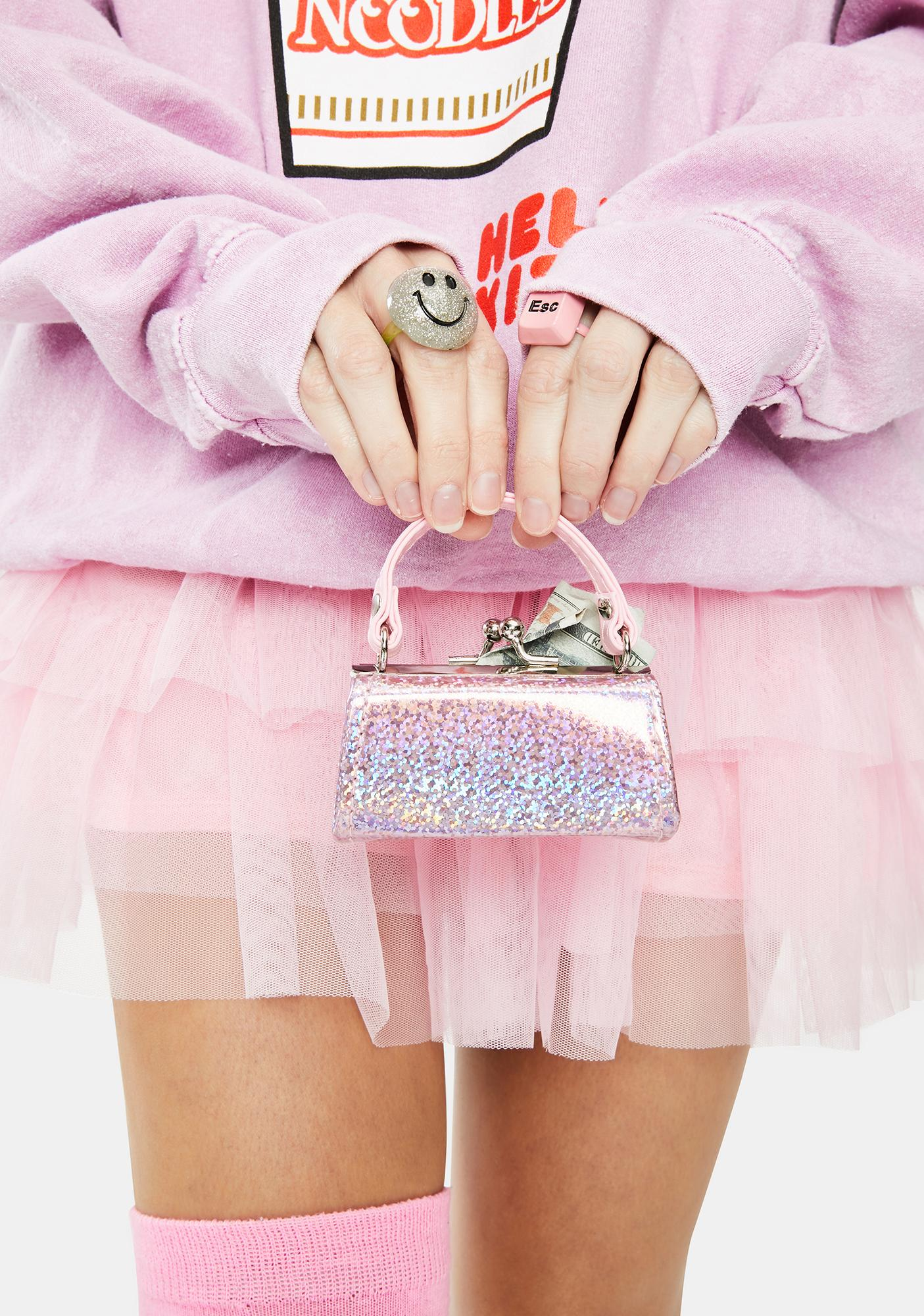 Sparkl Light Pink Holographic Mini Purse