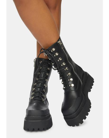 Synth Unisex Genuine Leather Square Toe Combat Boots
