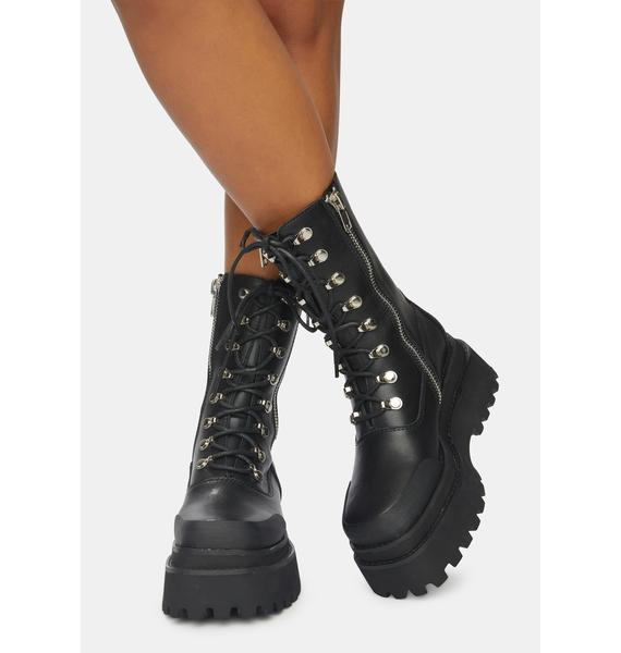 DARKER WAVS Synth Unisex Genuine Leather Square Toe Combat Boots