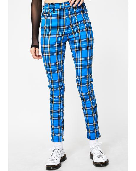 Blue Plaid T-Back Skinny Jeans