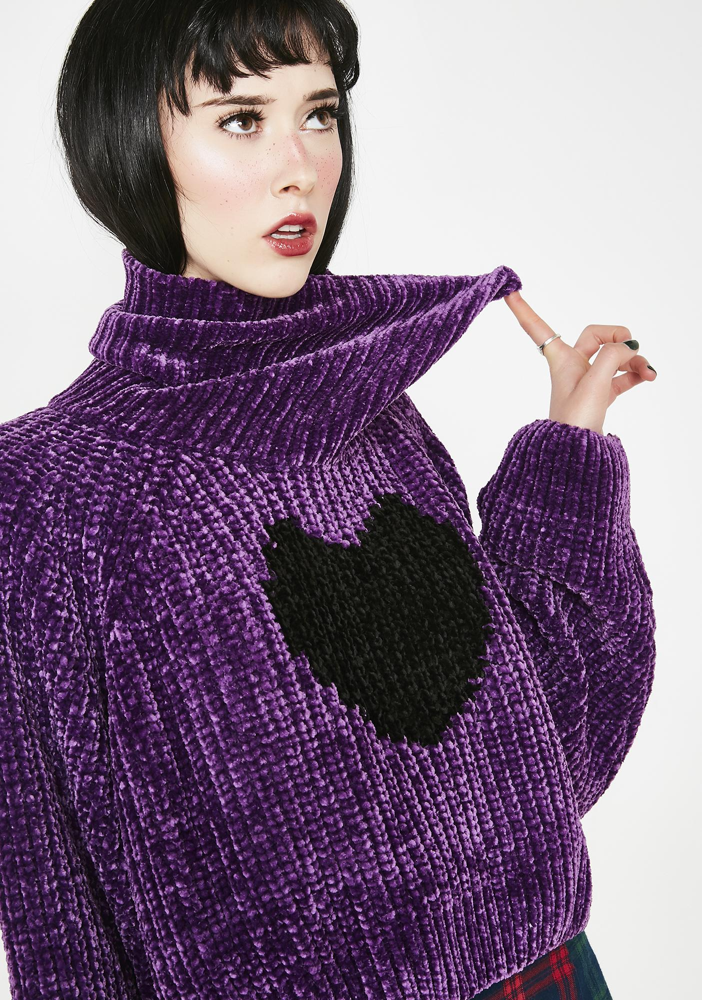 Lazy Oaf Black Heart Roll Neck Jumper