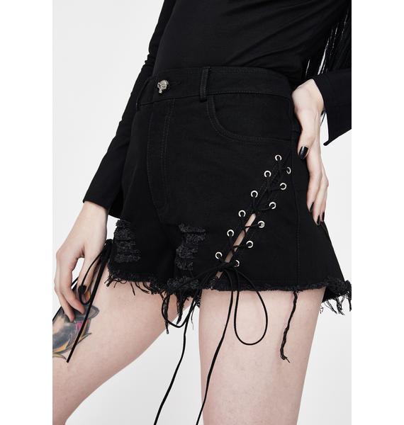 Punk Rave Assassin Lace-Up Denim Shorts