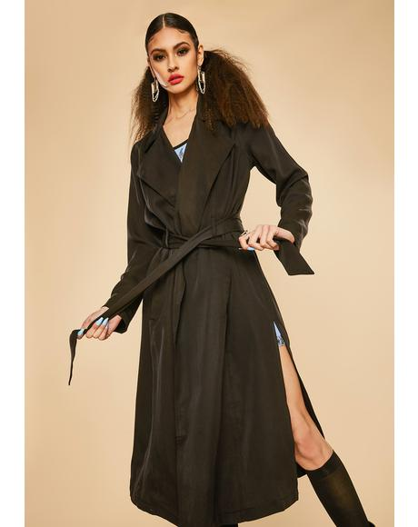 Slick Attitude Twill Trench Coat