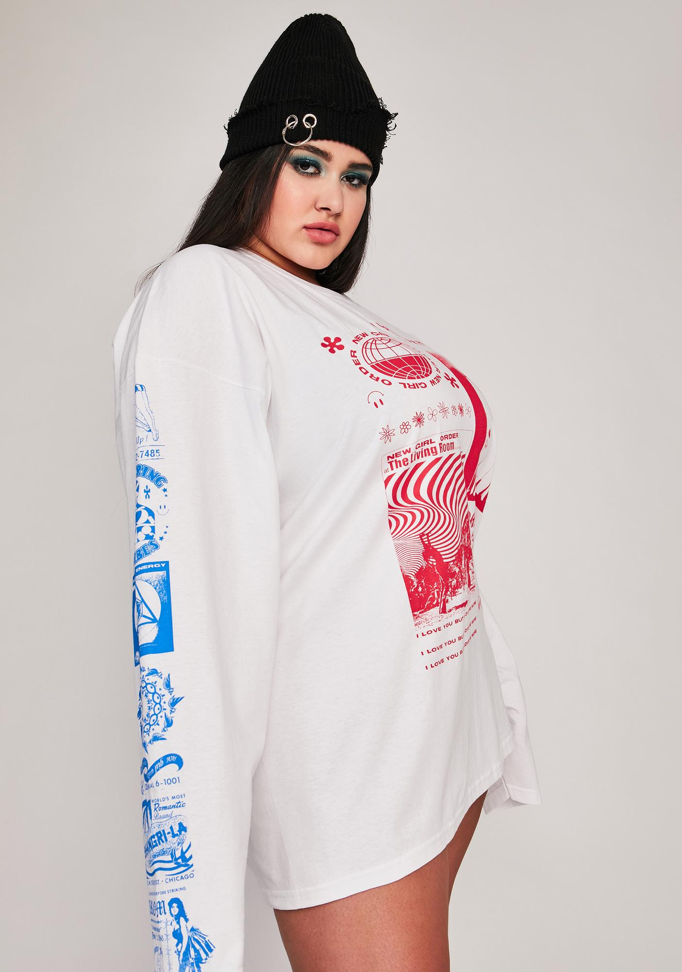 NEW GIRL ORDER Atomic Rave Flyer Long Sleeve Graphic Tee