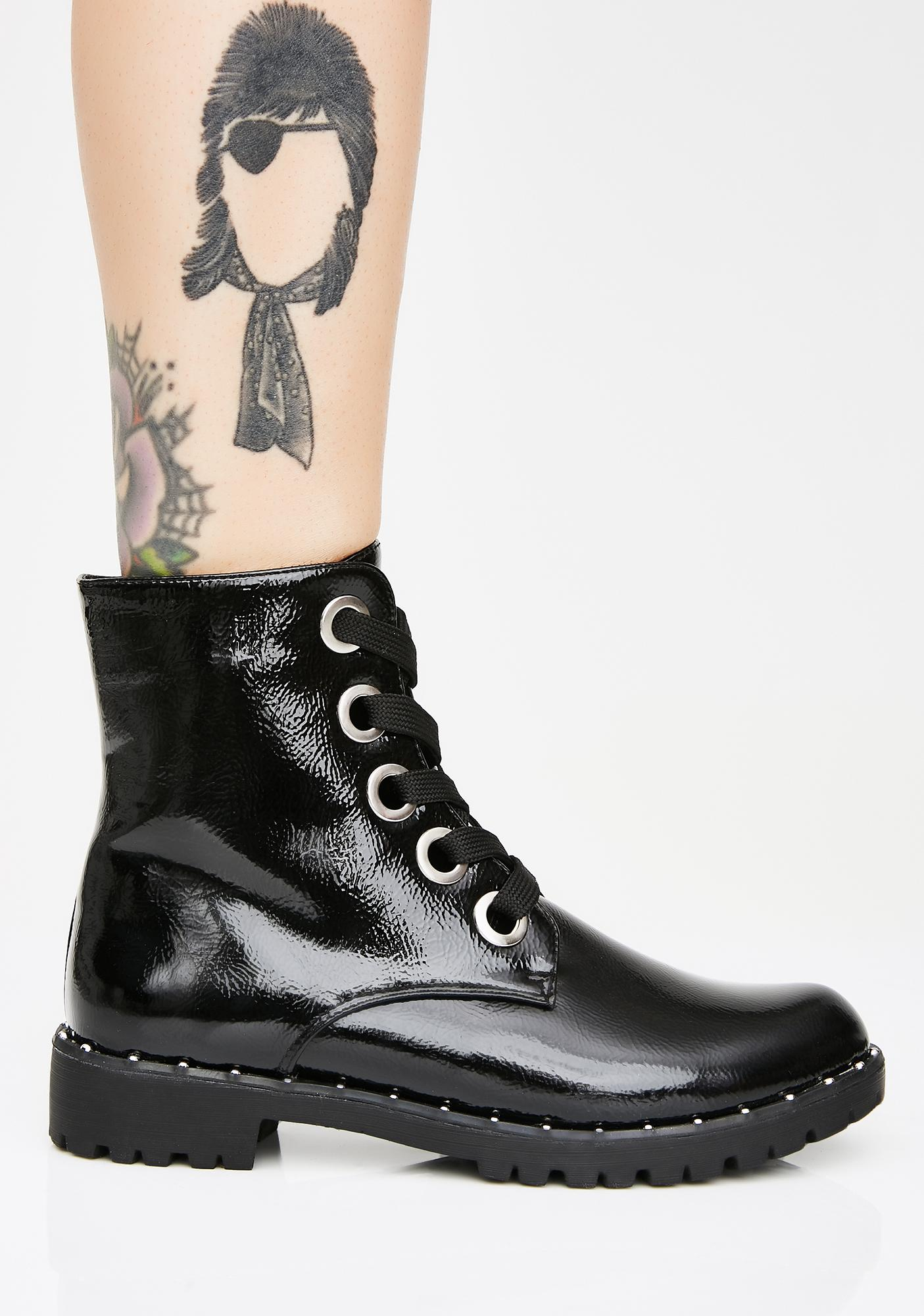 Midnight Combat Ready Lace-Up Boots