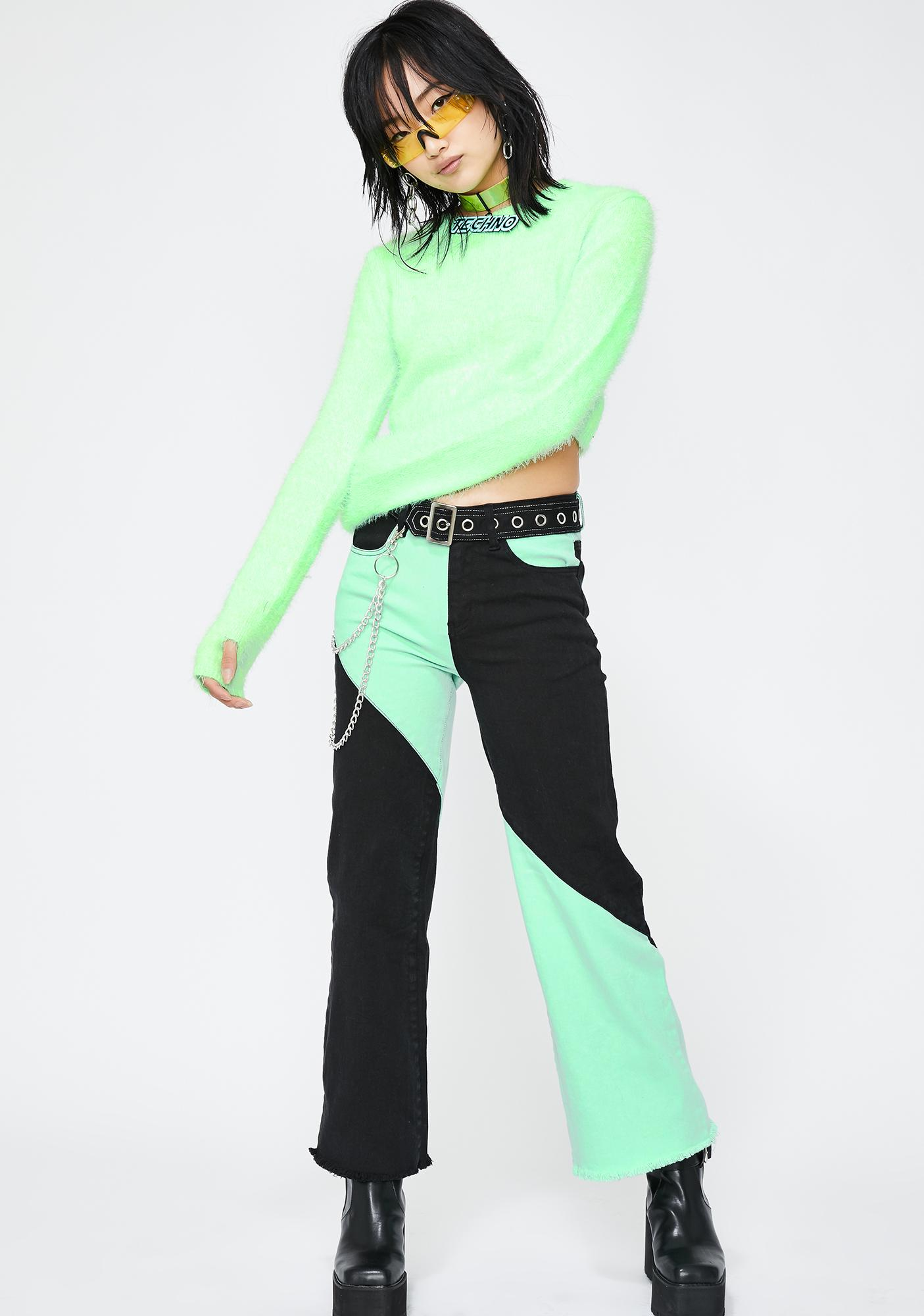 Current Mood Acid Spark Cropped Sweater
