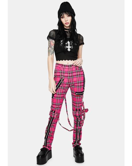 Neon Pink Plaid Bondage Pants