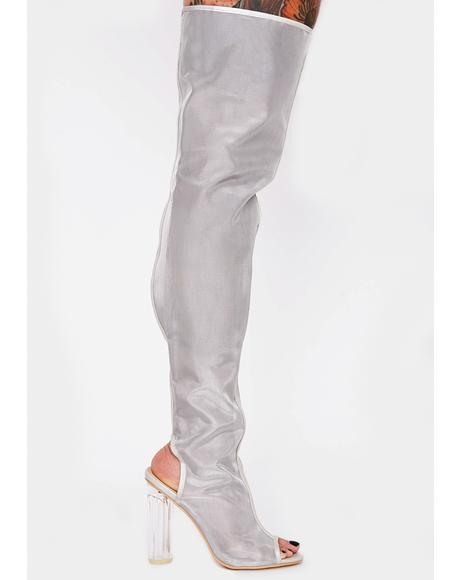 Drama Shield Thigh High Boots