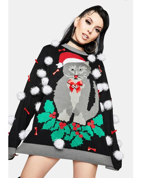 Ugly Cat Bell Christmas Sweater
