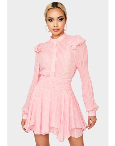 Flounce Polka Dot Mini Skirt