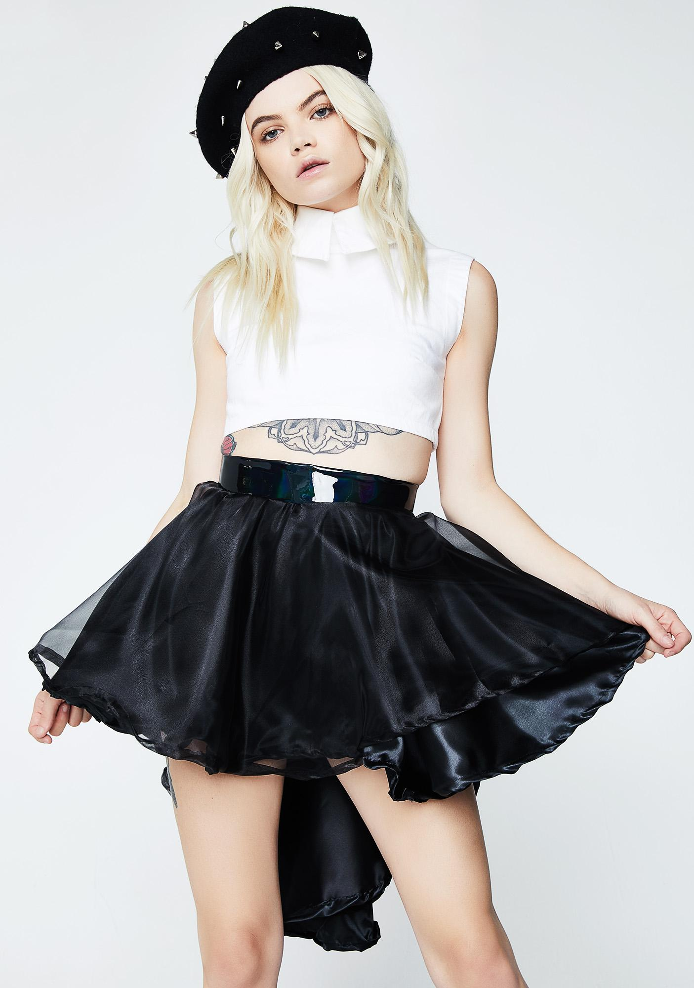 Cosmic Unicornz Black High Low Skirt