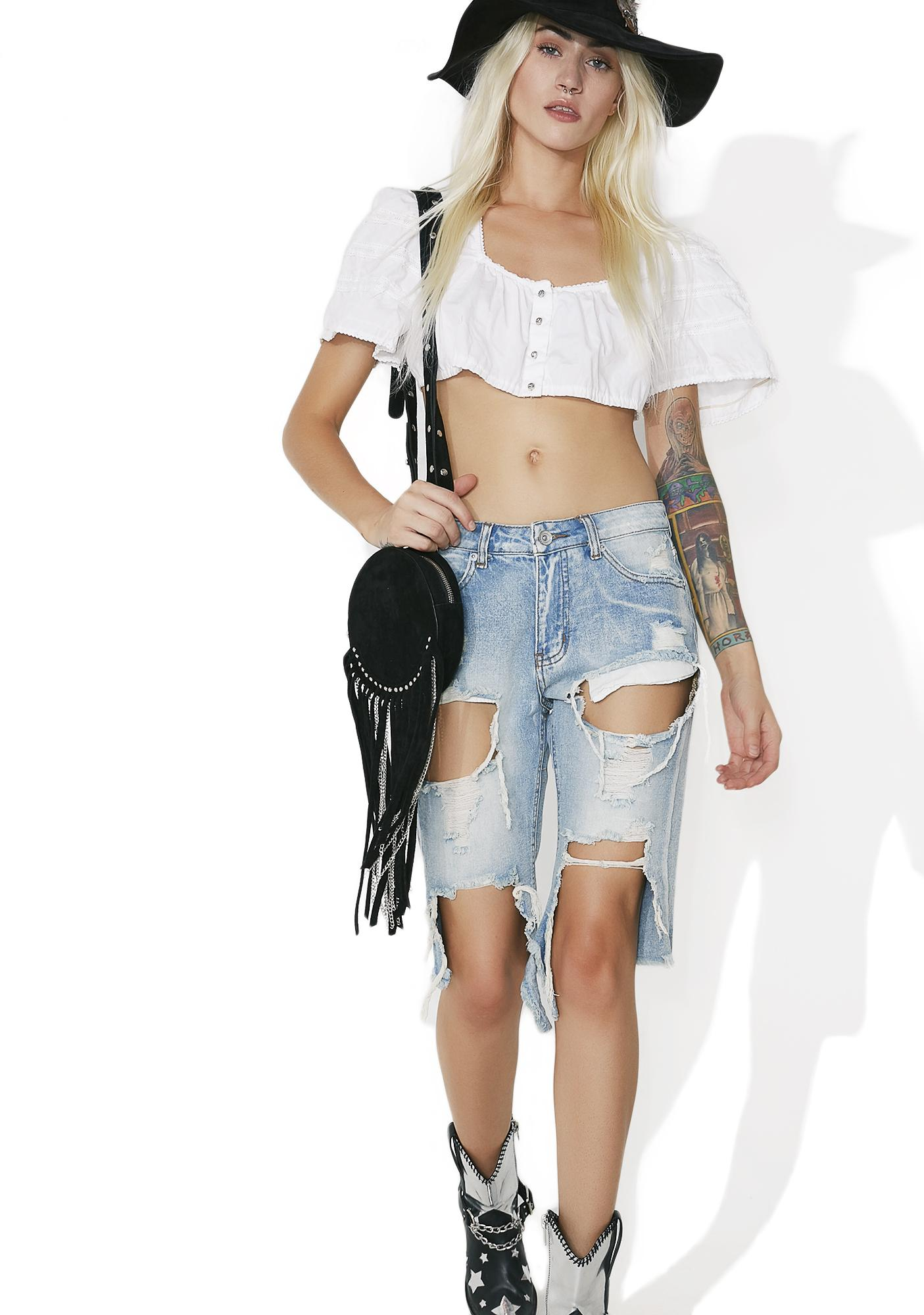 Ironwood Distressed Denim Shorts