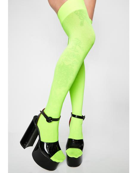 Lime FreakNik Neon Thigh Highs