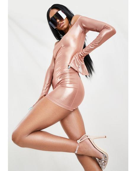 Rose Metallic Mini Dress