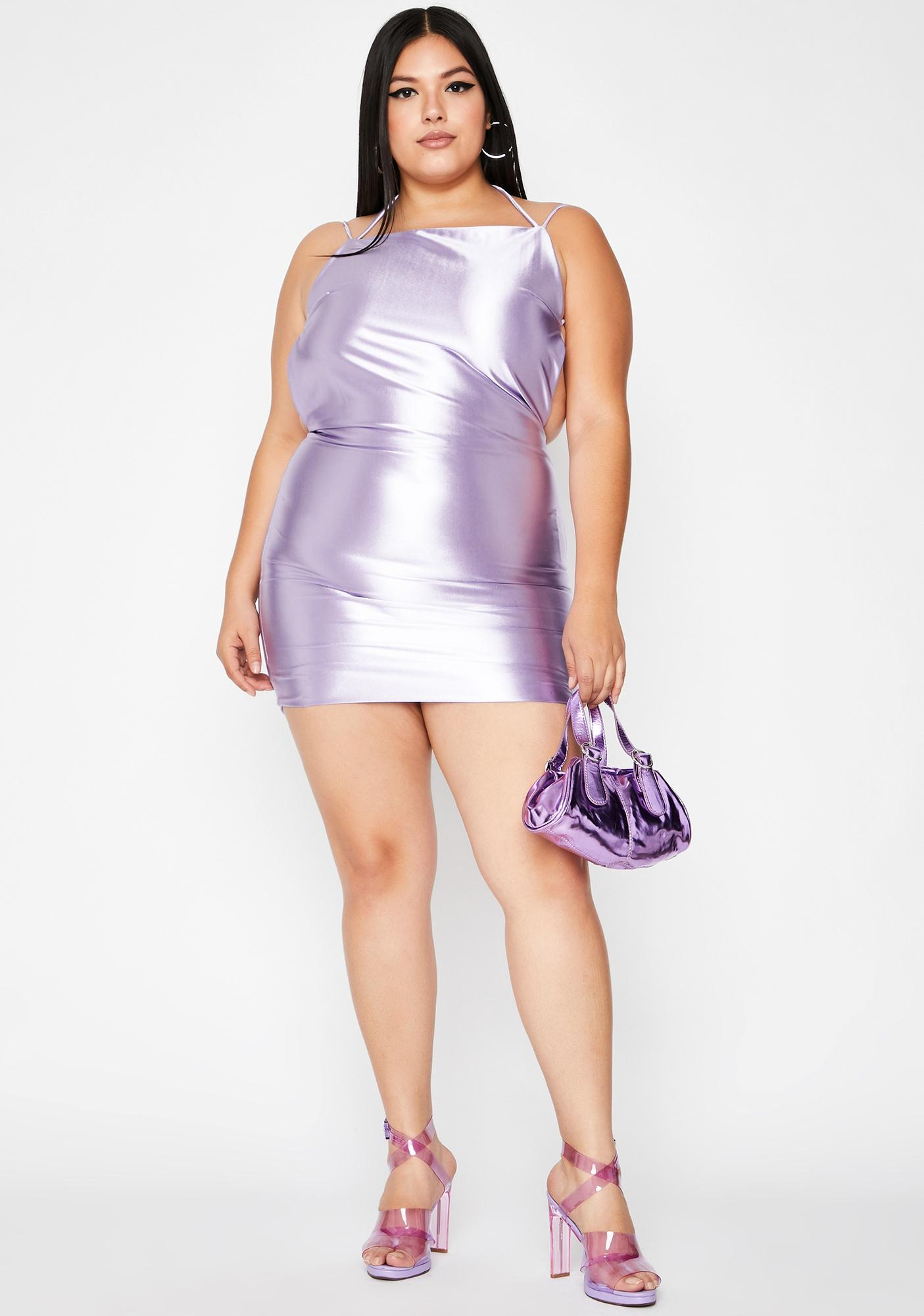 Lavender Viral Status Satin Dress