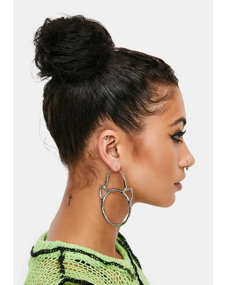 Meow's It Going Cat Hoop Earrings