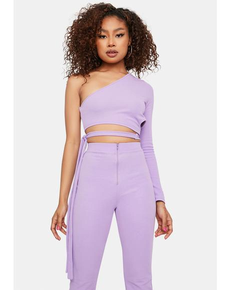 Lavender The Last Straw Flare Pants Set