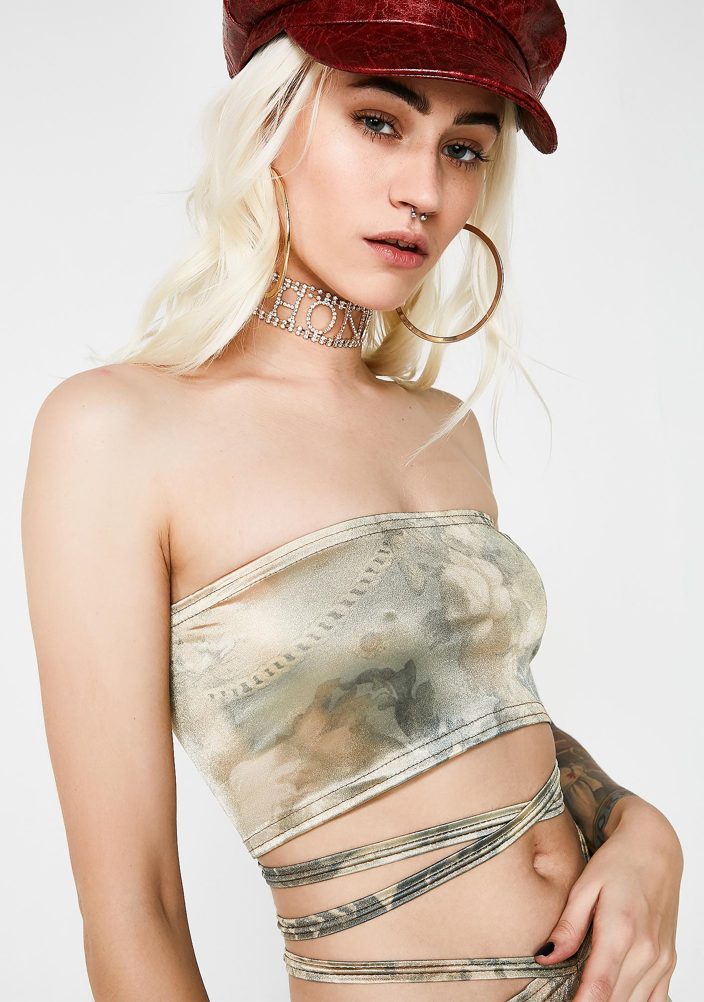 American Deadstock X Internet Girl Silk Road Satin Tube Top