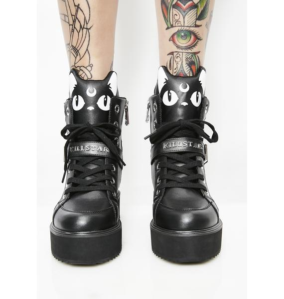 Killstar Keiko Kitty High Top Sneakers