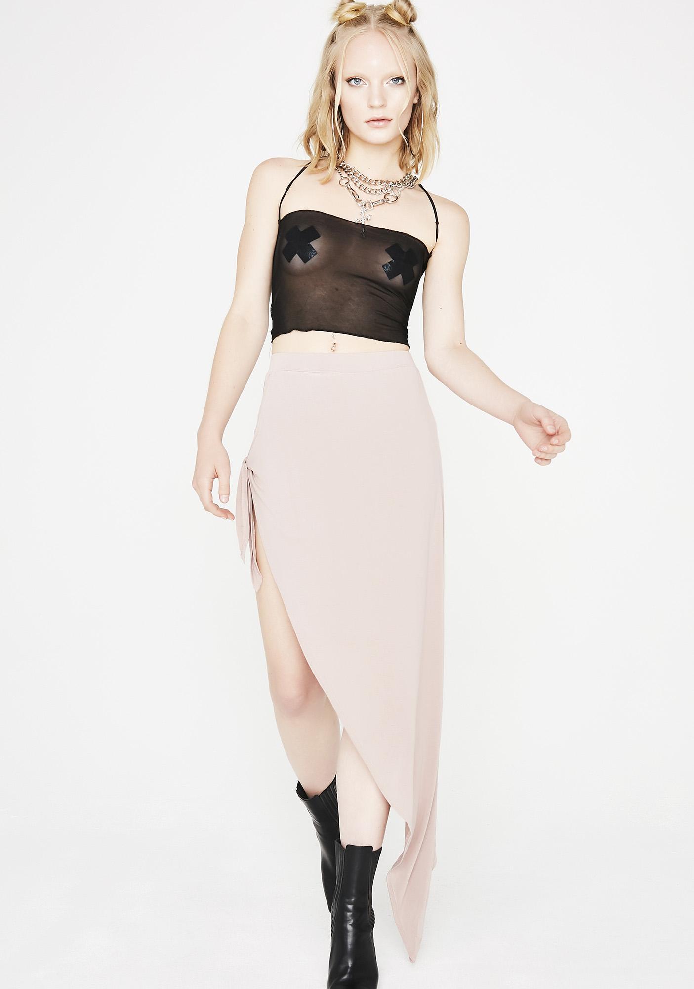 Mauve Give No Chances Side Tie Skirt