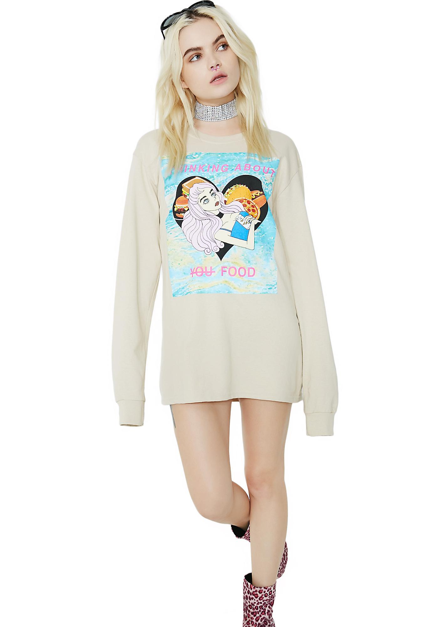 Peachbrain Thinking About You Long Sleeve Shirt