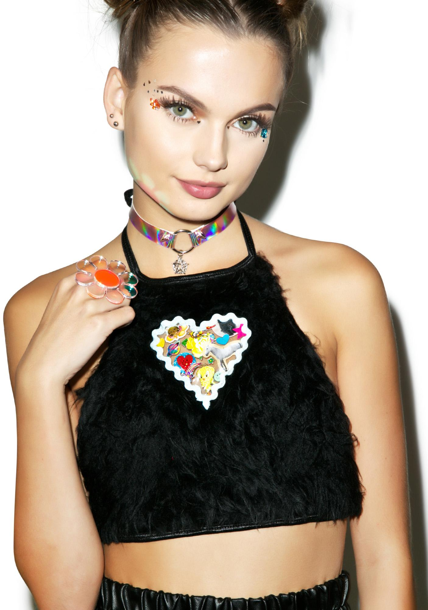 Indyanna Britney Faux Fur Crop Halter Top