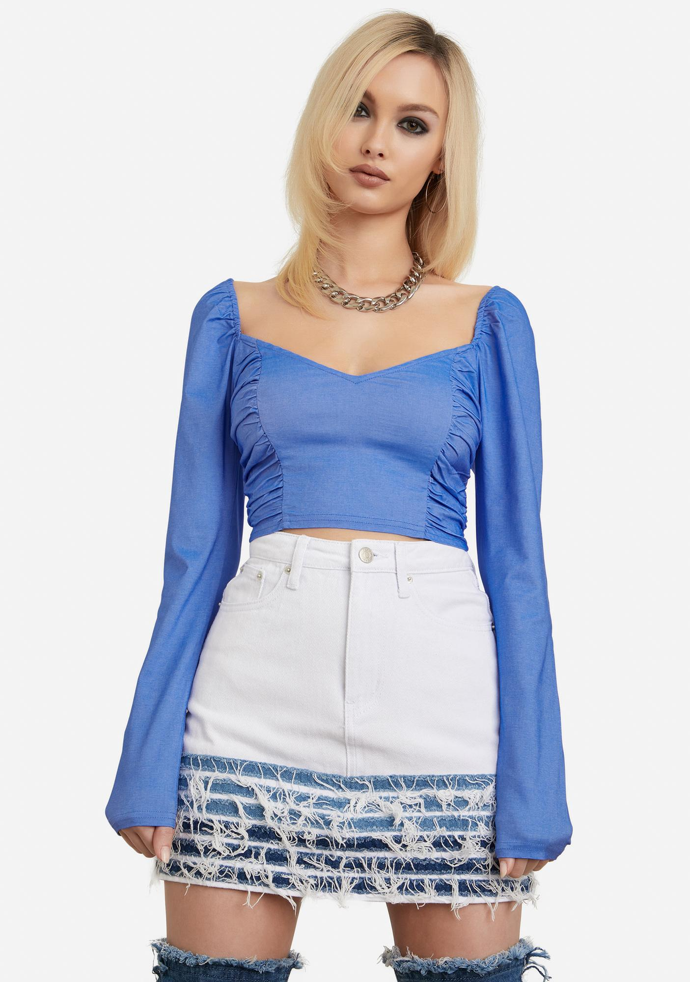 I'll Be Your Girl Ruched Crop Top