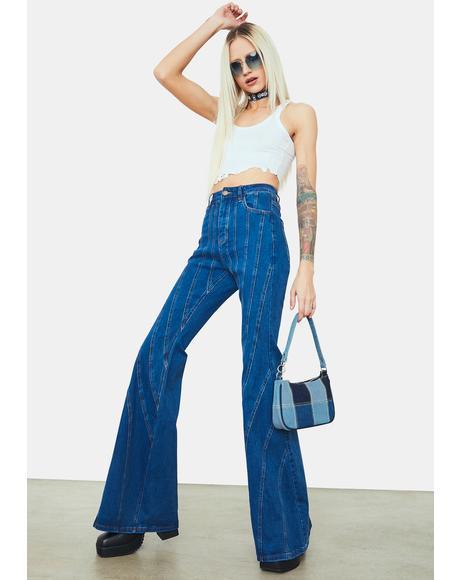 Player Plan Vertical Striped Flared Denim Jeans