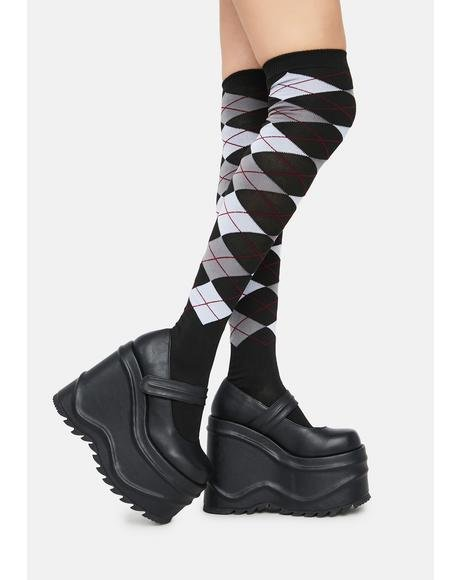 Without A Doubt Argyle Thigh High Socks