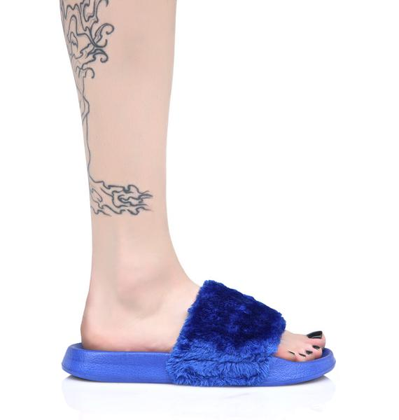 Lust For Life Cobalt Furry Slides